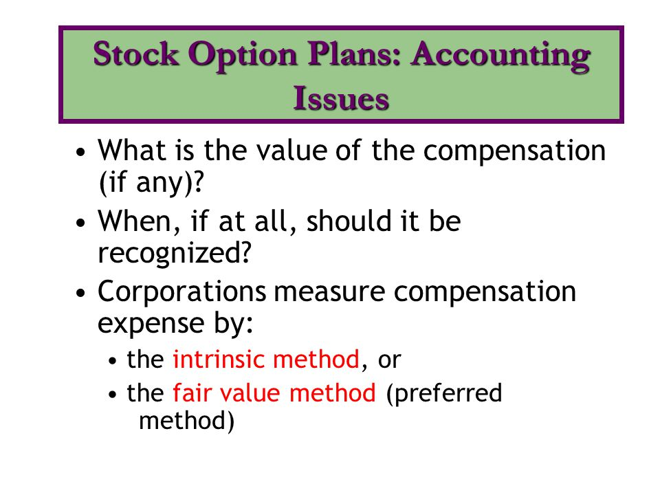 Stock Option Plans: Accounting Issues