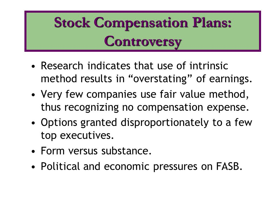 Stock Compensation Plans: Controversy
