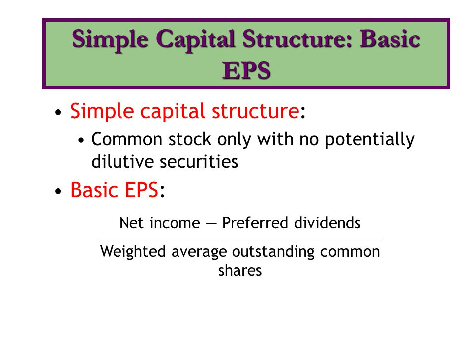 Simple Capital Structure: Basic EPS