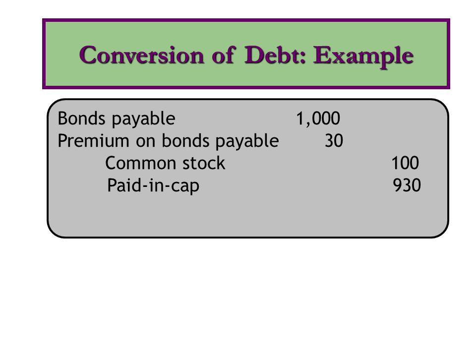 Conversion of Debt: Example