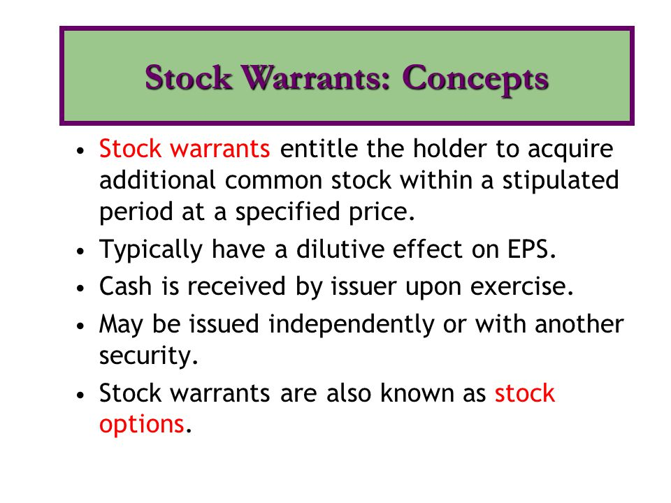Stock Warrants: Concepts