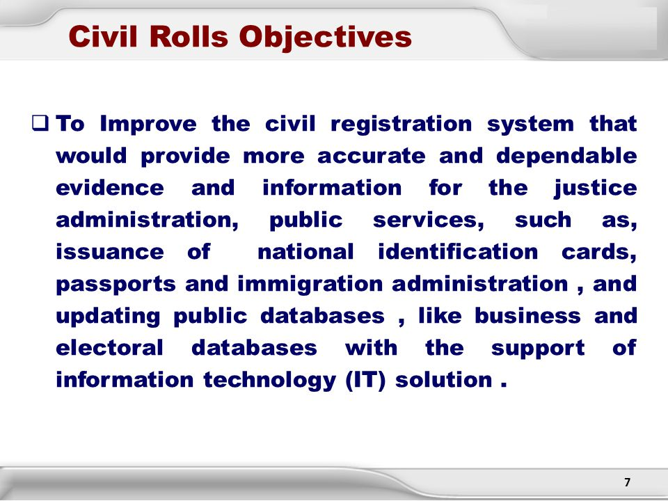 Civil Rolls Objectives
