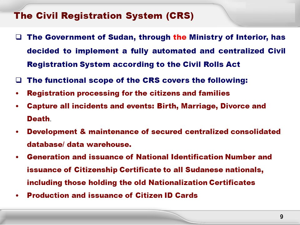 The Civil Registration System (CRS)