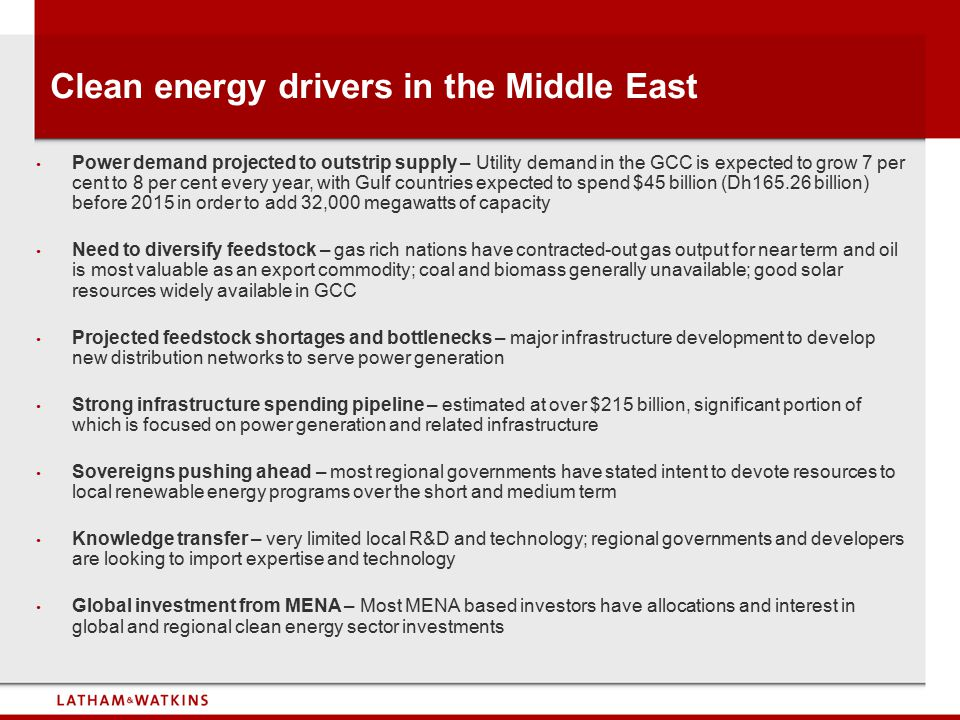 Clean energy drivers in the Middle East