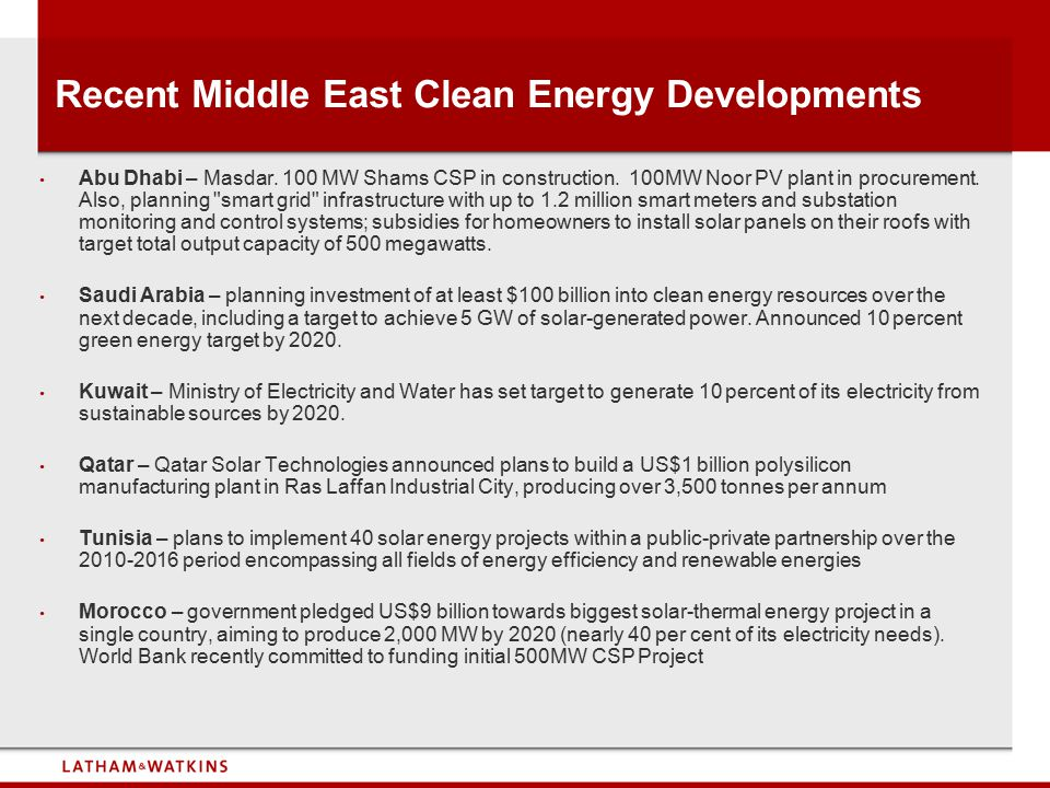 Recent Middle East Clean Energy Developments