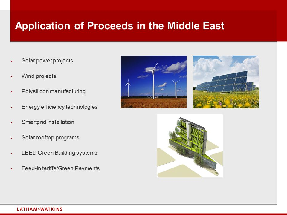 Application of Proceeds in the Middle East
