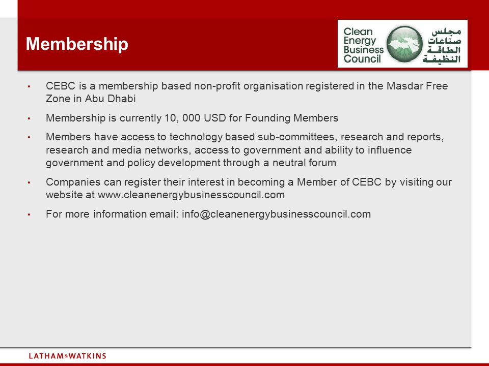 Membership CEBC is a membership based non-profit organisation registered in the Masdar Free Zone in Abu Dhabi.