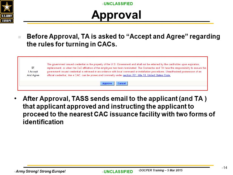 Approval Before Approval, TA is asked to Accept and Agree regarding the rules for turning in CACs.