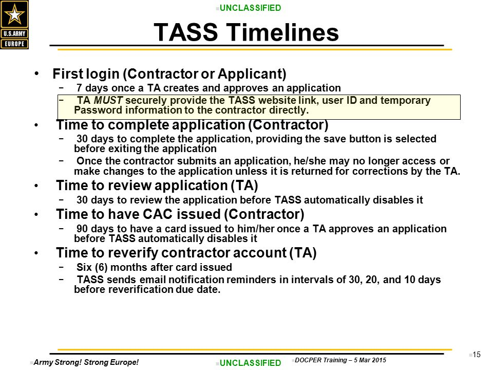TASS Timelines First login (Contractor or Applicant)