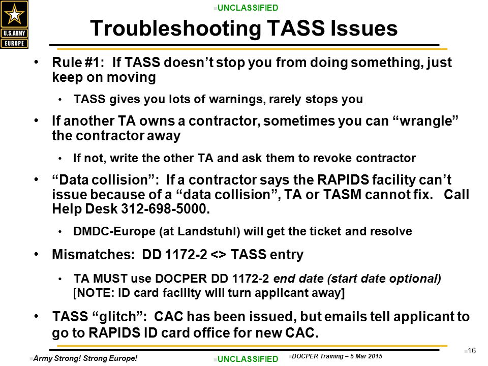 Troubleshooting TASS Issues