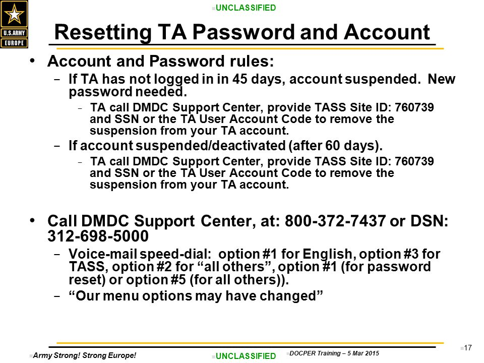 Resetting TA Password and Account
