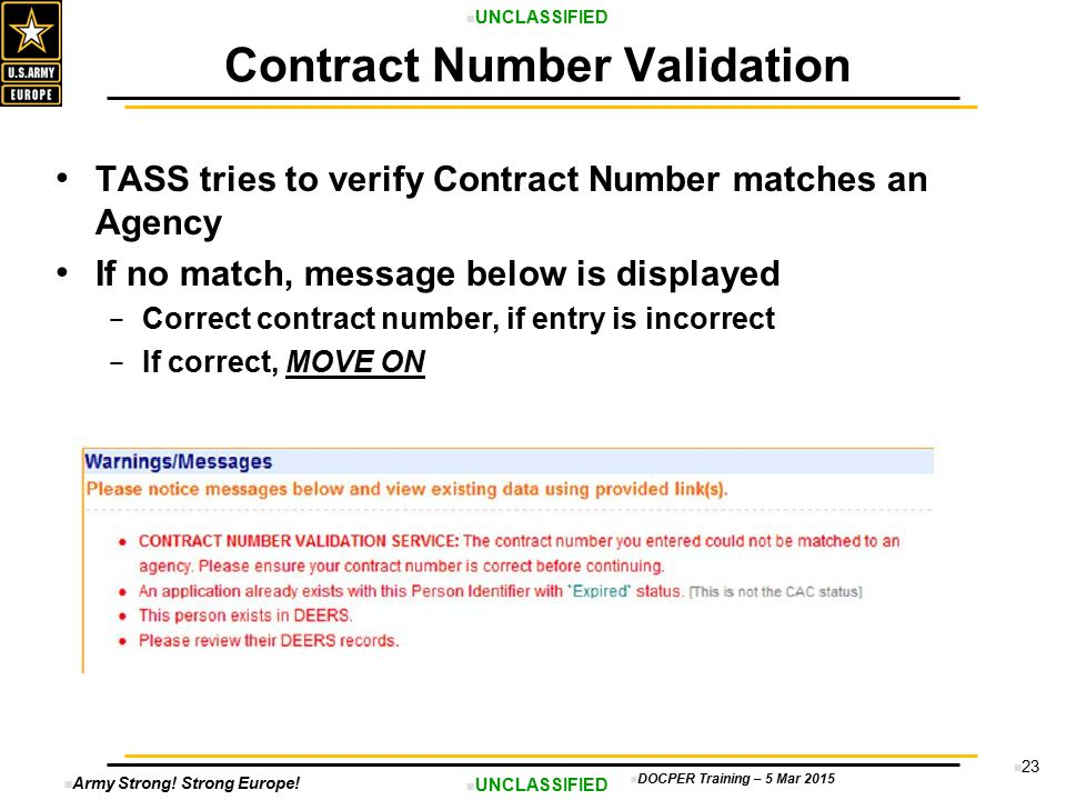 Contract Number Validation