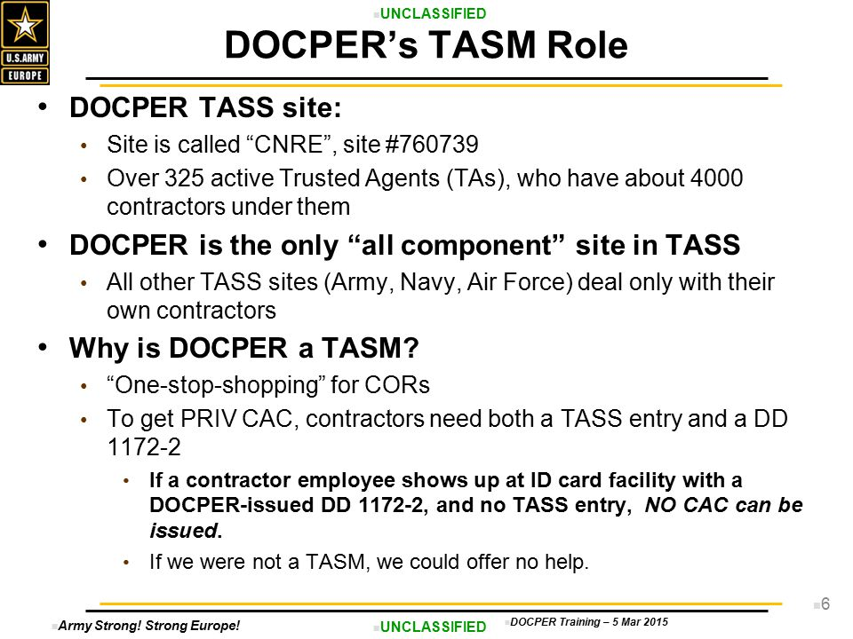 DOCPER's TASM Role DOCPER TASS site:
