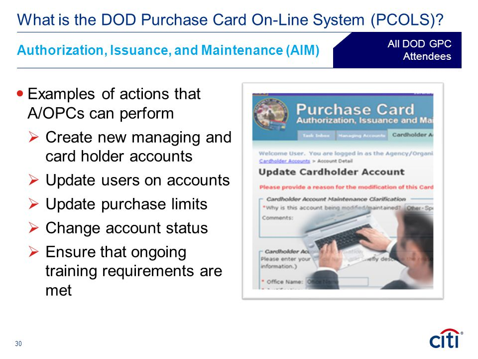 What is the DOD Purchase Card On-Line System (PCOLS)