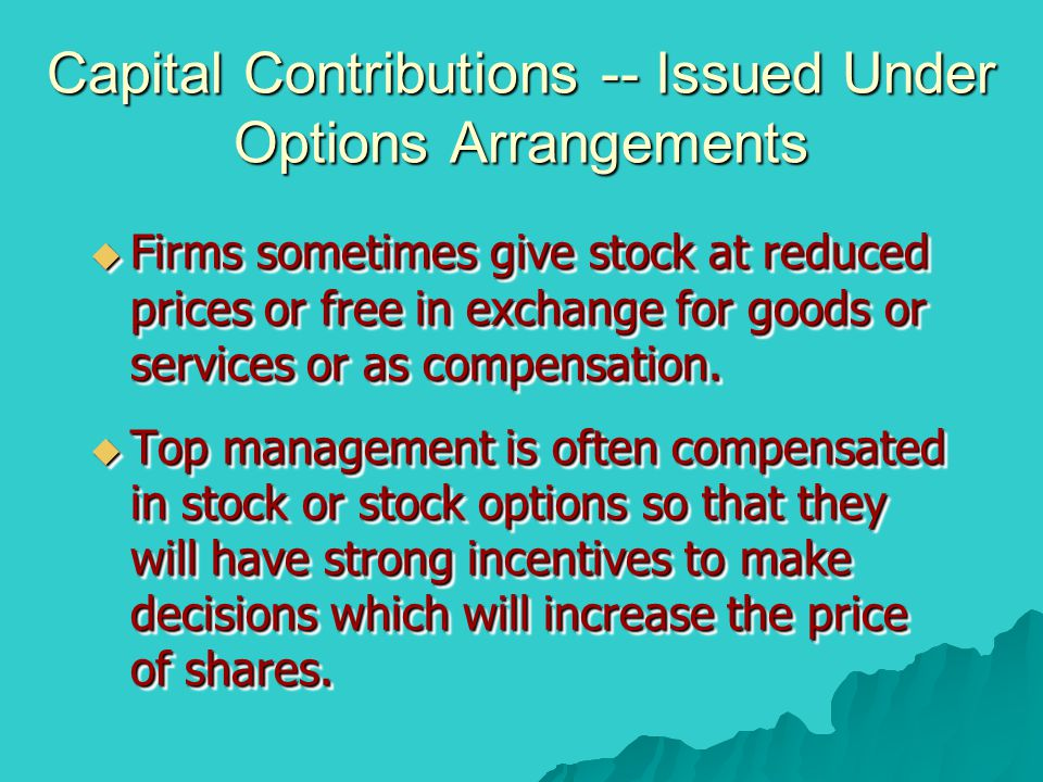 Capital Contributions -- Issued Under Options Arrangements