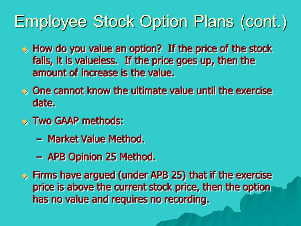 Employee Stock Option Plans (cont.)