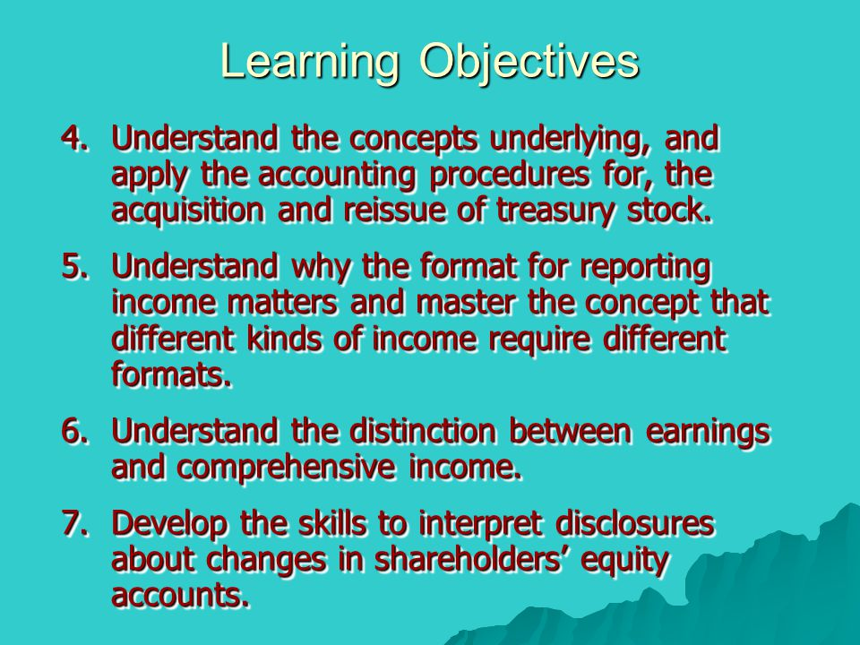 Learning Objectives Understand the concepts underlying, and apply the accounting procedures for, the acquisition and reissue of treasury stock.
