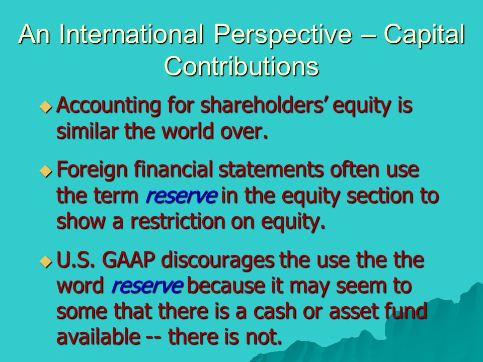 An International Perspective – Capital Contributions