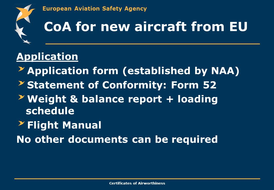 CoA for new aircraft from EU