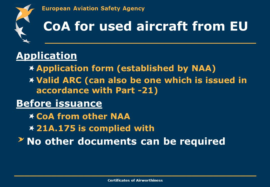 CoA for used aircraft from EU