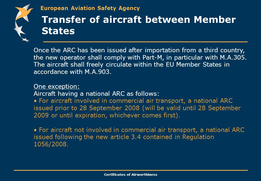Transfer of aircraft between Member States