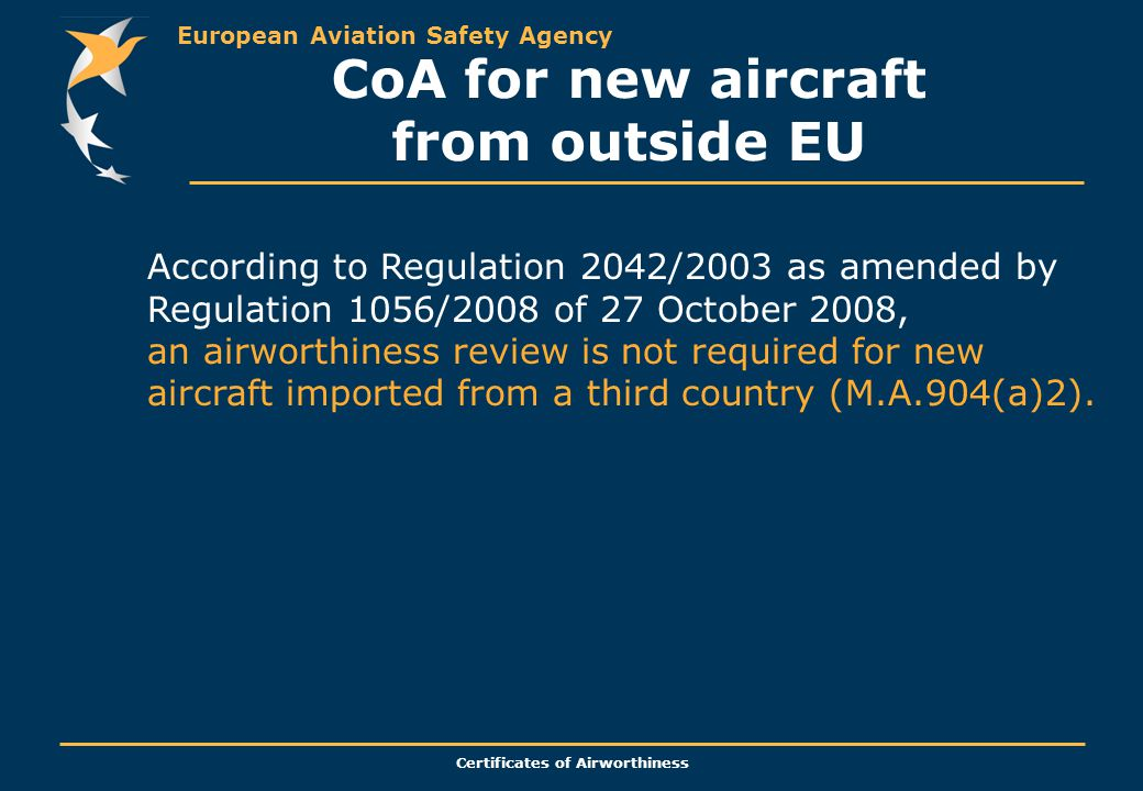 CoA for new aircraft from outside EU