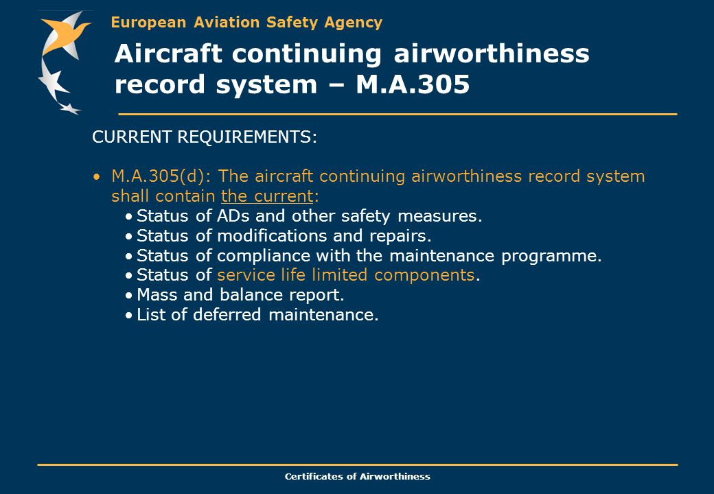 Aircraft continuing airworthiness record system – M.A.305