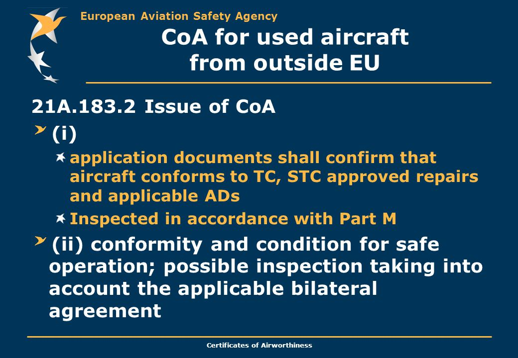 CoA for used aircraft from outside EU