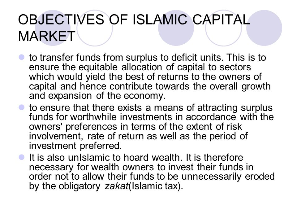 OBJECTIVES OF ISLAMIC CAPITAL MARKET