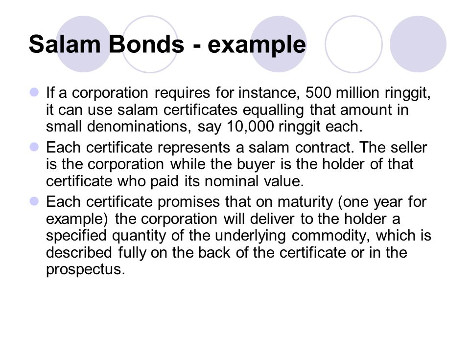 Salam Bonds - example
