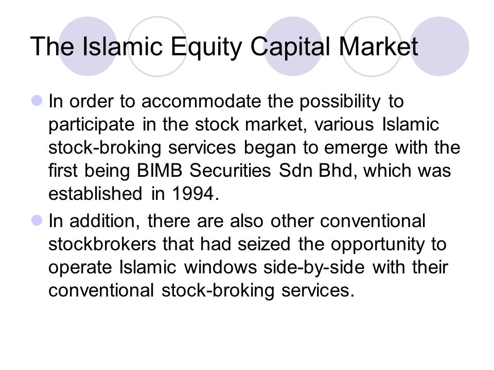 The Islamic Equity Capital Market