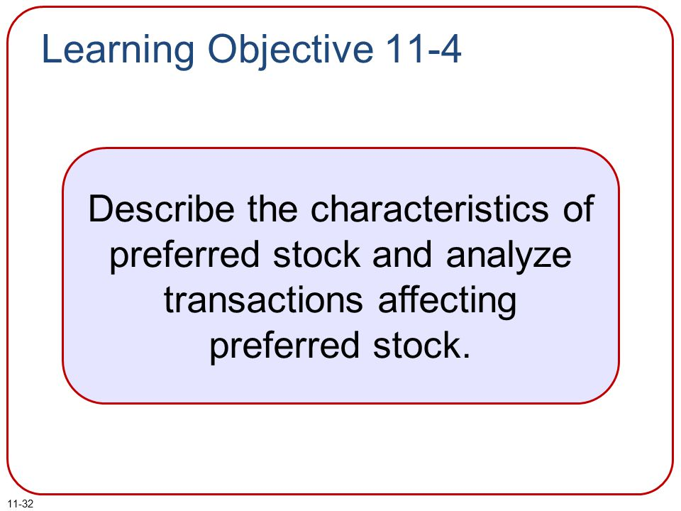 Learning Objective 11-4 Describe the characteristics of preferred stock and analyze transactions affecting preferred stock.