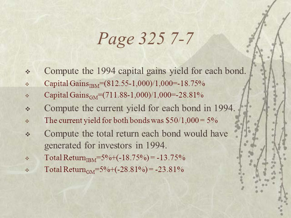 Page 325 7-7 Compute the 1994 capital gains yield for each bond.