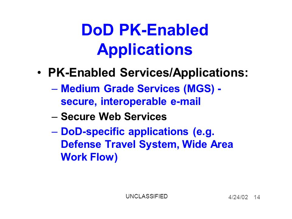 DoD PK-Enabled Applications