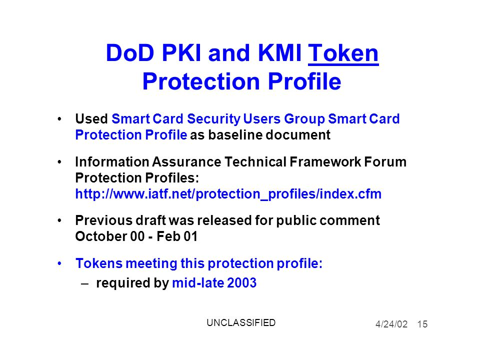 DoD PKI and KMI Token Protection Profile