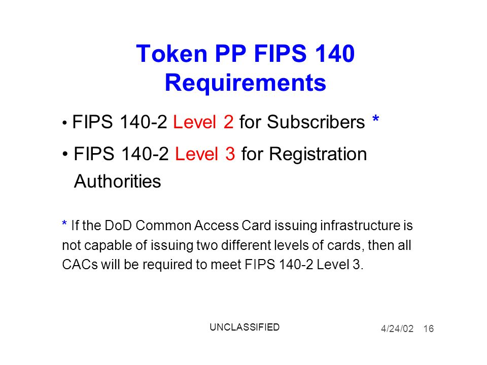 Token PP FIPS 140 Requirements