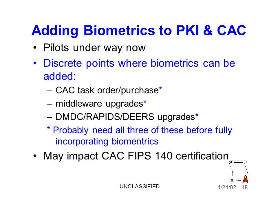 Adding Biometrics to PKI & CAC