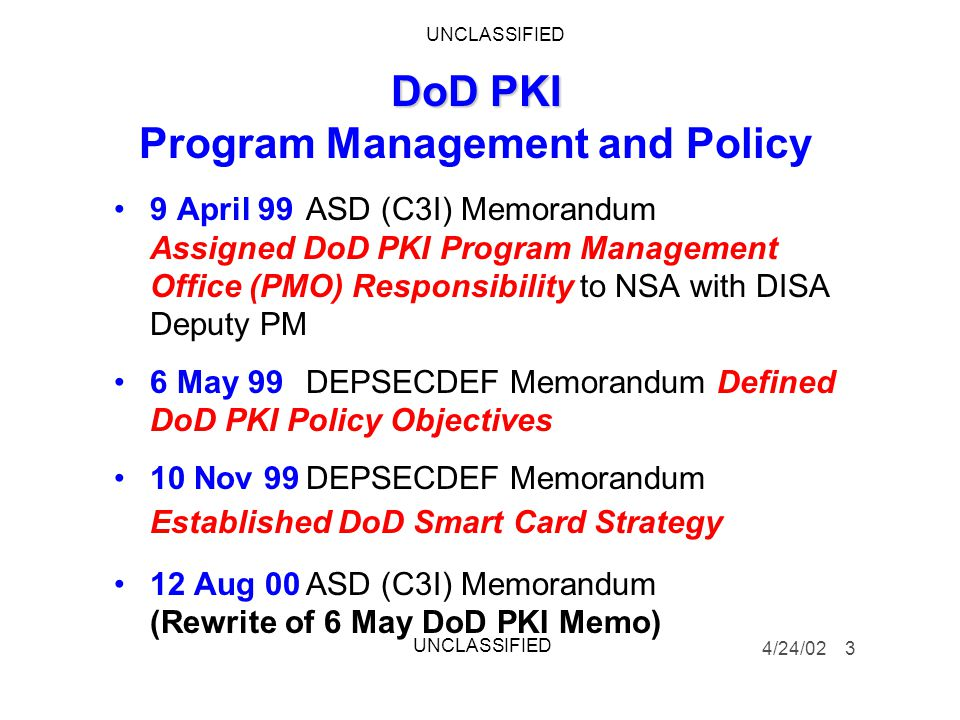 DoD PKI Program Management and Policy