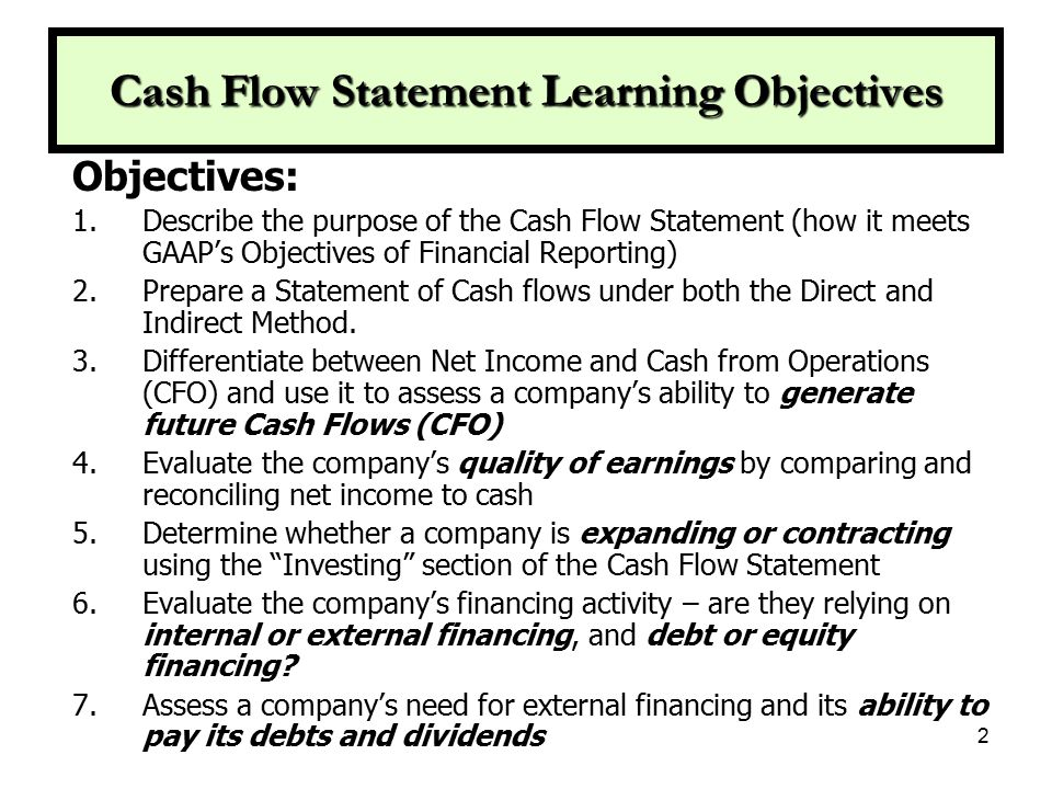 Cash Flow Statement Learning Objectives