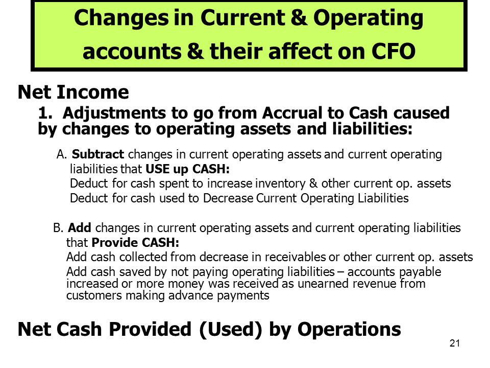 Changes in Current & Operating accounts & their affect on CFO