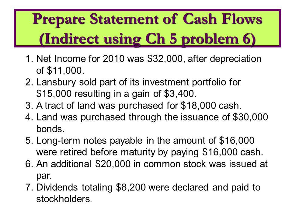 Prepare Statement of Cash Flows (Indirect using Ch 5 problem 6)