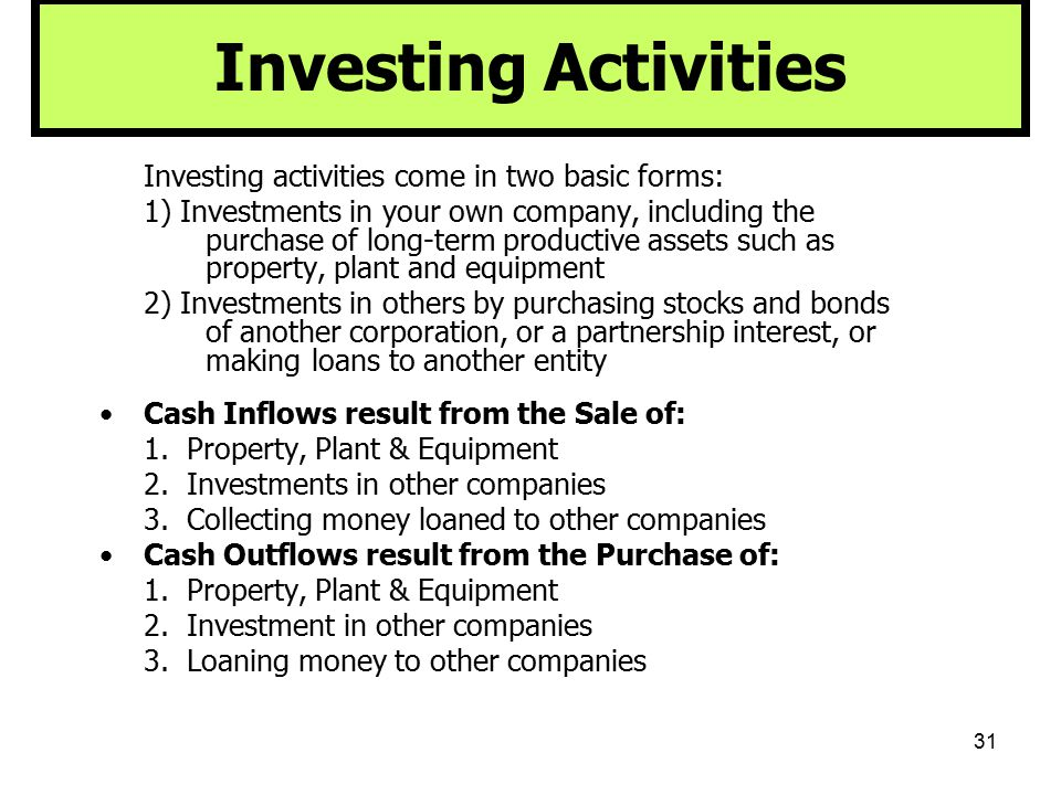 Investing Activities Investing activities come in two basic forms: