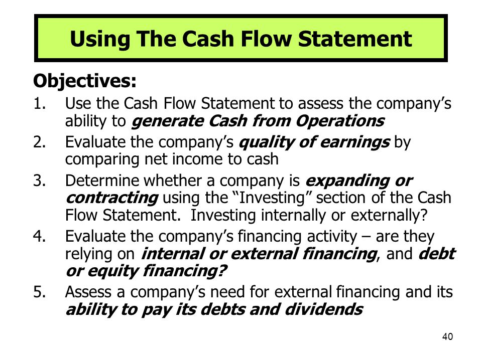 Using The Cash Flow Statement