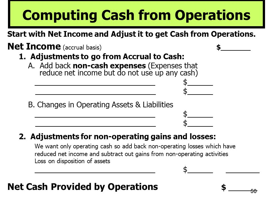 Computing Cash from Operations