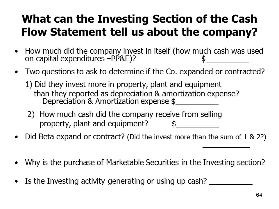 What can the Investing Section of the Cash Flow Statement tell us about the company