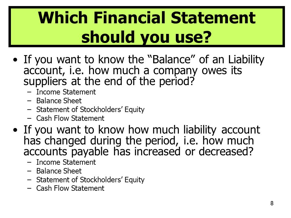 Which Financial Statement should you use