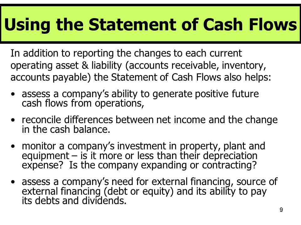 Using the Statement of Cash Flows