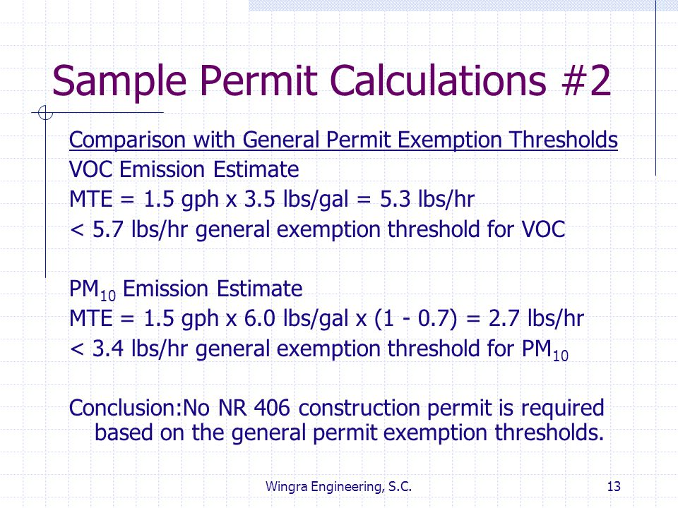 Sample Permit Calculations #2