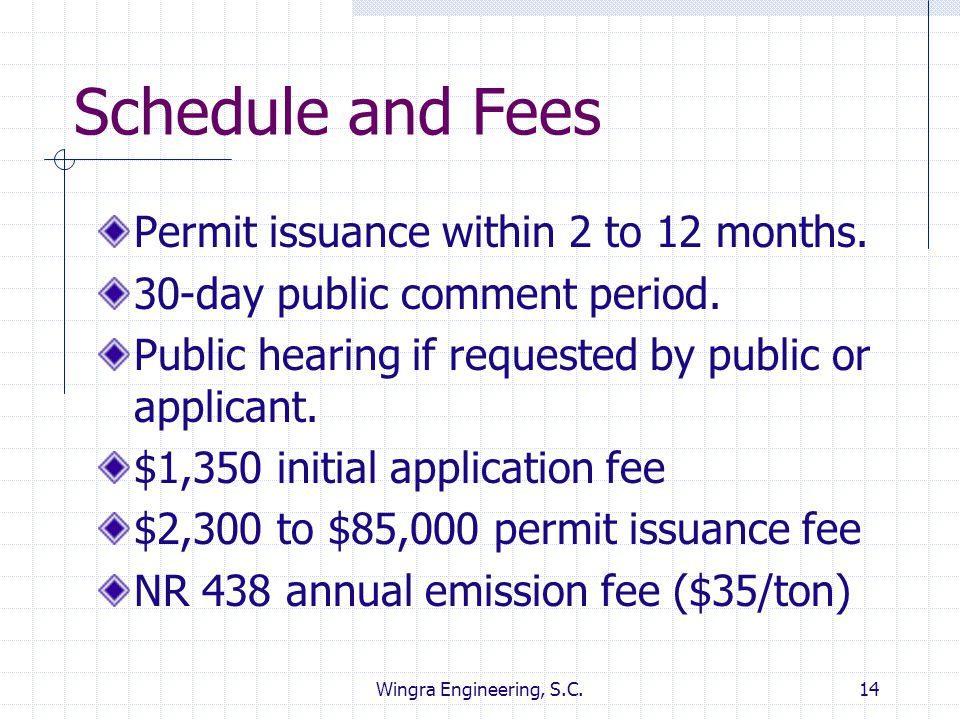 Schedule and Fees Permit issuance within 2 to 12 months.