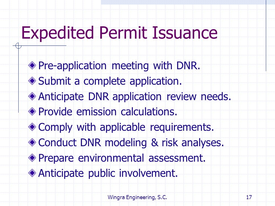Expedited Permit Issuance